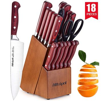 Knife Set, Premium 18-Piece Kitchen Knife Set with Block made of High Carbon German Stainless Steel with Knife Sharpener & 6 Steak Knives Wood