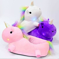 led Glowing Unicorn Slippers Kids Light Up Winter Warm Plush Boy Girls Slippers Cotton  New Children Home Shoes