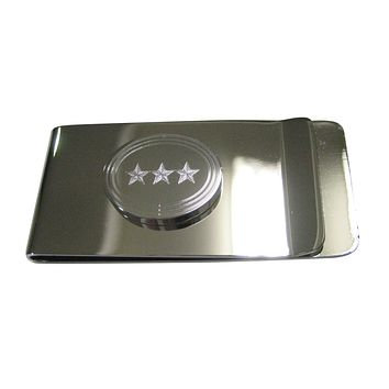 Silver Toned Etched Oval 3 Stars Money Clip