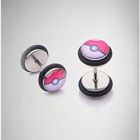 18 Gauge Silver Pokeball Pokemon Fake Plug 2 Pack - Spencer's