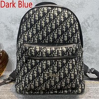 Dior new embroidered letters large-capacity shopping backpack school bag daypack Gray