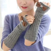 2015 Hot Sale New Fashion  Women Lady  Autumn/Winter Bow-Knot Hand Arm Gloves Girl Crochet Knit Long Stretchy Warm Fingerless Gloves = 1958049476