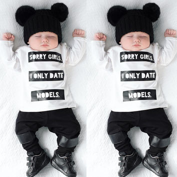 2016 baby boy girl clothes Long sleeve T shirt letter pattern pants 2 pcs suit newborn clothes s baby clothing set for spring