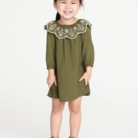 Eyelet-Ruffle Swing Dress for Toddler Girls|old-navy