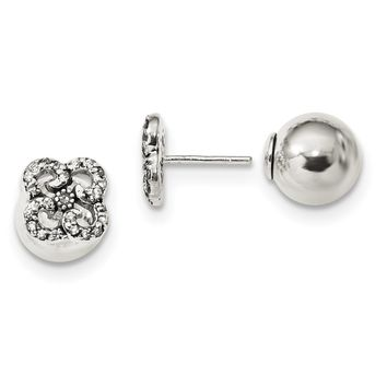 Sterling Silver Antiqued CZ Flower Front & Back Post Earrings QE13337