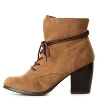 Slouchy Lace-Up Ankle Boots by Charlotte Russe - Taupe