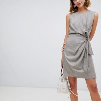 Warehouse twist front mini dress in check at asos.com