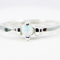 Opal Stacking Ring Sterling Silver, 925 White Opal Ring, Natural White Opal Ring, Sterling Silver Opal Ring, 925 Ring, Opal Solitaire Ring