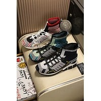 D&G DOLCE & GABBANA Men's Flyknit Fashion High Top Sneakers Shoes