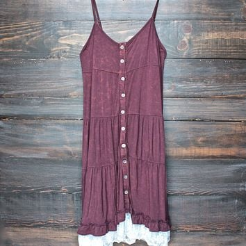 Mimosas on the Beach Dress in Vintage Burgundy