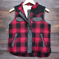 check me out sleeveless plaid vest witih faux fur lining