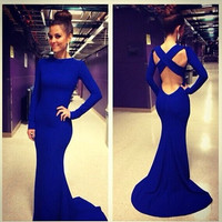 Elegant Mermaid Chiffon Royal Blue Backless Prom Dress Long with Sleeves/Evening Dress Gown/Formal Dress Gown/Cocktail Dress Gown/Custom