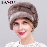 Russian Fur Hats for Women 100% Whole Piece Mink Fur Hat with Flower High Quality Adjustable Real Fur Hats for The Winter