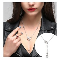 Skull Pendant Gothic Long Necklace Accessories Jewelry