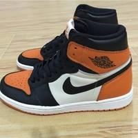 Air Jordan 1 Black Orange While Basketball Shoes 40 47