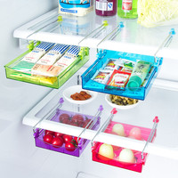 Kitchen Fridge Sliding Drawer Space Saver Organizer Refrigerator Storage Rack Shelf Holder Drawer