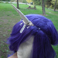 Unicorn Horn Headband, White Silver, Floating, Halloween, Costume, Mystical, Crown, Crystal, Circlet, My LittlePony Last Unicorn Narwhal