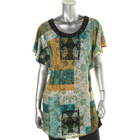Style & Co. Womens Printed Jeweled Tunic Top