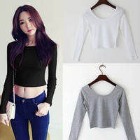2015 Fall fashion autumn Sexy Crop Top Ladies long Sleeve t shirt women tops Basic Stretch T-shirts Bare-midriff solid color