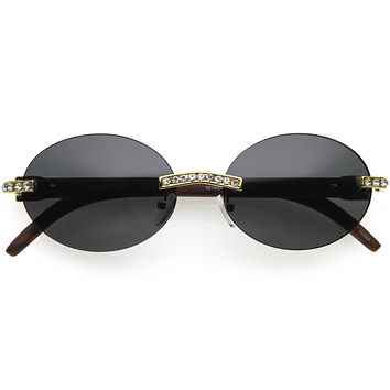 Retro Rhinestone Decorated 90s Inspired Rimless Oval Sunglasses D180