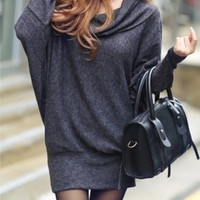 Dark Grey Cotton Women Fashion ROund Neck Long Sleeve New Korean Autumn Style Casual Loose Short Length Dress One Size FZ73263-26dg (Size: M, Color: Dark gray) = 1958356228