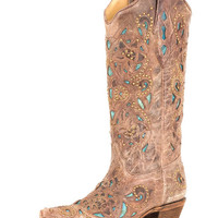 Corral Women's Brown Crater Turquoise Inlay & Studs Boot