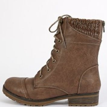 Womens Wynne-06 Sweater Collar Combat Boots TAUPE 8 New: In Box