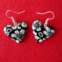 black and white flower polymer clay earrings,black artisan earrings,polymer clay jewelry,romantic gifts for her,affordable jewelry,gift idea