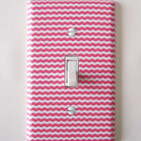 Coral & White Mini Chevron Single Toggle Switchplate Switch Plate