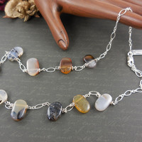 Sterling Silver Montana Agate Drop Necklace
