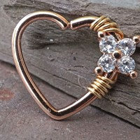 16 Gauge Heart Rose Gold Daith Hoop Ring Rook Hoop Cartilage Helix