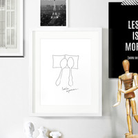 Let's Spoon, Minimal Poster / Black and White Wall Decor Print for Your Bedroom