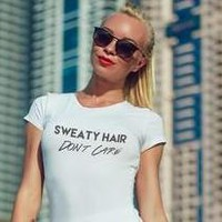 Sweaty Hair Don't Care Funny Workout Yoga T-shirt Top