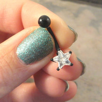Black Belly Button Jewelry Ring with Crystal Star