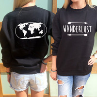 ON SALE WANDERLUST sweatshirt front and back slogan jumper with world map journey vacation travel  pullover