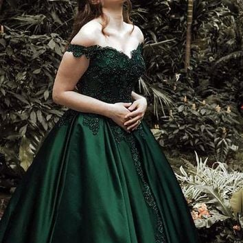 Off Shoulder Lace Green Ball Gown Prom Dresses
