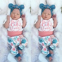 US 4PCS Newborn Infant Baby Girl Cotton Tops Floral Pants Summer Outfits Clothes