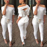 White Off-Shoulder Fringed  Cutout  Back Jumpsuit