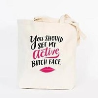 Last Call! Active Bitch Face Tote Bag in Canvas with Pink and Black Lettering