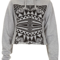 **Block Cropped Hoody by Illustrated People - Jersey Tops - Clothing - Topshop