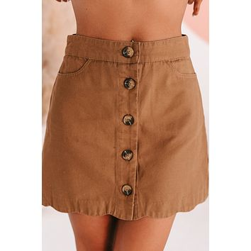 Today's The Day Button Front Mini Skirt (Camel)
