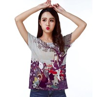 Track Ship+Retro Vintage Cool T-shirt Top Tee Sweet Alice Girl and Rabbit in Wonderland Poker 0100