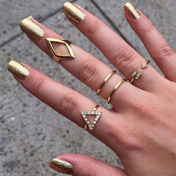 Rhinestone Knuckle Band Stack Ring