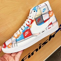 Nike Blazer Mid ¡°Patchwork¡± New fashion multicolor more letter hook couple high top shoes