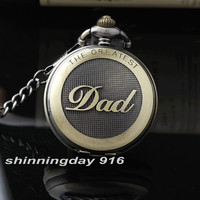 New Arrival Bronze The Greatest Dad Round Dial Quartz Pocket Watch Pendant FOB Chain Men's High Quality Best Gift P331