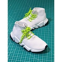 Balenciaga Lace Up Knit Sock Sneakers White Speed Trainers