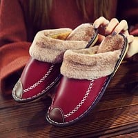 Winter Women Slippers Genuine Leather Home House Indoor Non-Slip Thermal Shoes Men Warm Furry Slippers Plus Size Hot