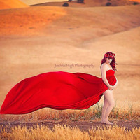 RED and More Colors Stunning Maternity Dress, Maternity Photography Prop, Maternity Prop, Belly Dress,White Dress