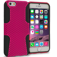 Black / Hot Pink Hybrid Mesh Hard Soft Silicone Case Cover for Apple iPhone 6 Plus (5.5)