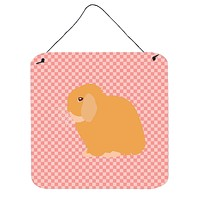 Holland Lop Rabbit Pink Check Wall or Door Hanging Prints BB7968DS66